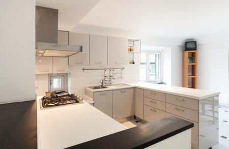 27121959 - interior, small apartment, white kitchen view