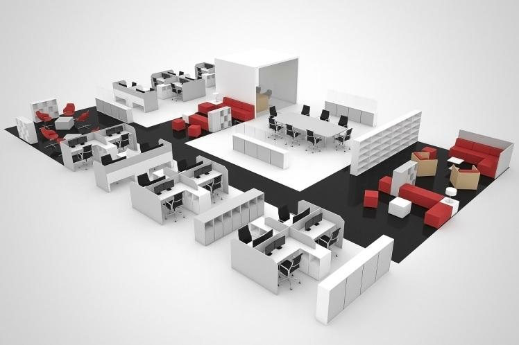 office-plan-3d-render